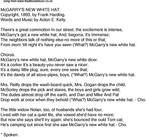 cat song lyrics time song lyrics for 36 mcgarrys new white hat