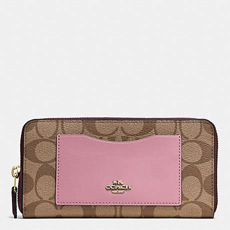 Coach Accordion Zip Wallet F13677 accordion zip wallet in colorblock signature f57318 imitation gold khaki oxblood multi