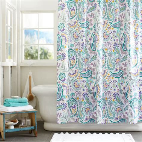 teenage bathroom shower curtains swirly paisley shower curtain pbteen