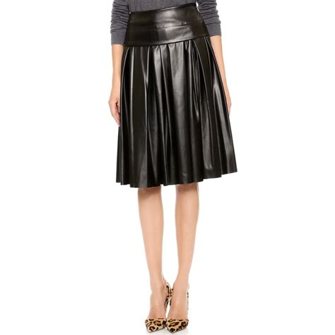 rank style msgm pleated faux leather skirt