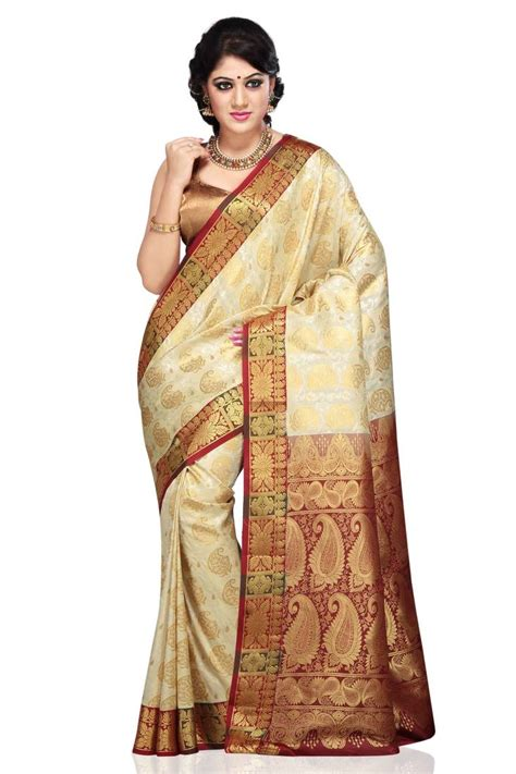 Only Blue Blouse Vinn New Color buy white and maroon woven art silk saree with blouse