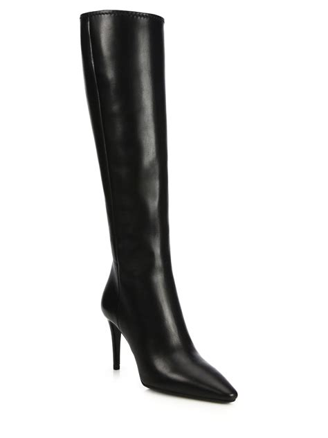 prada leather knee high point toe boots in black lyst