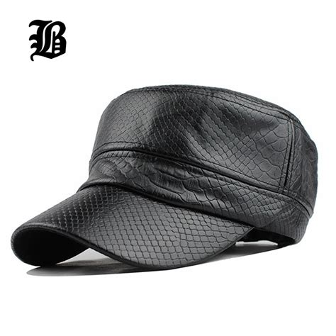 Topi Flb Wholesale Unisex flb fashion unisex flat roof mens pu caps and hat warm leather hat with cotton gorras