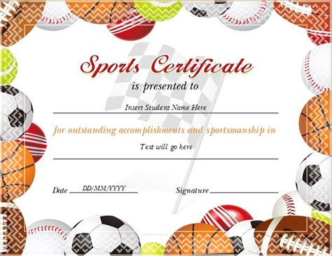 sports certificate for ms word at http