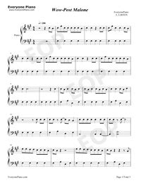 Wow-Post Malone Free Piano Sheet Music & Piano Chords