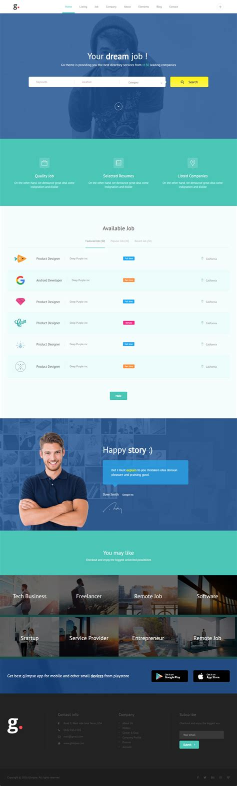10 Best Html5 Job Board Website Templates 2017 Responsive Miracle Board Website Template