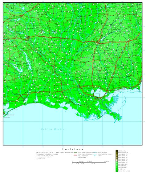 elevation map of us cities louisiana elevation map