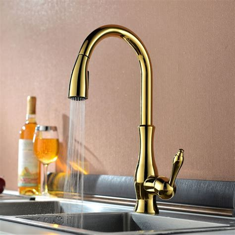 titanium gold brass singel lever high arc pull  kitchen faucet  retractable pull