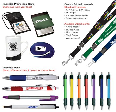 Custom Giveaway Products - promotional items printed pens lanyards tote bags