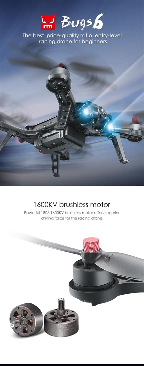 Mjx Bugs 6 B6 Professional Racing With Mjx C5830 5 8g 720p mjx b6 bugs 6 brushless with 5 8g fpv 3d roll racing drone rc quadcopter rtf sale