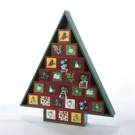 wooden christmas tree tabletop advent calendar wood