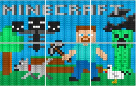 minecraft color  number mural coloring squared