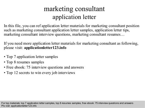 Marketing Advisor by Marketing Consultant Application Letter