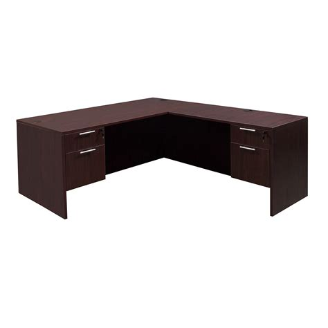 l shaped everyday 30 215 66 24 215 48 laminate l shape desk mahogany