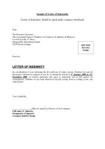 Financial Letter Of Indemnity Sle Indemnity Template 28 Images Indemnity Agreement