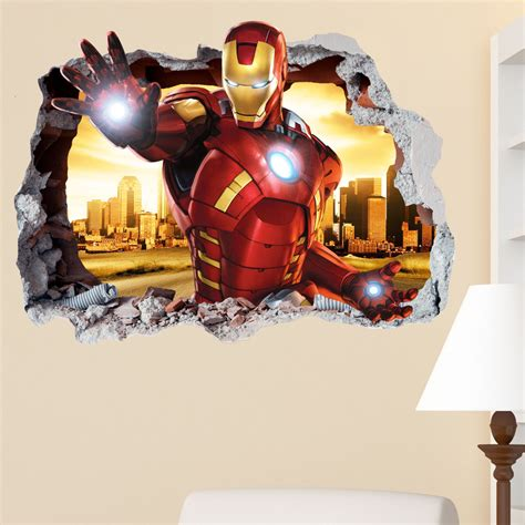 details about transformers smashed wall sticker bedroom iron man smashed wall sticker in wall crack superhero kids