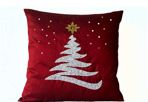 decorative pillow cover christmas pillow red silk by