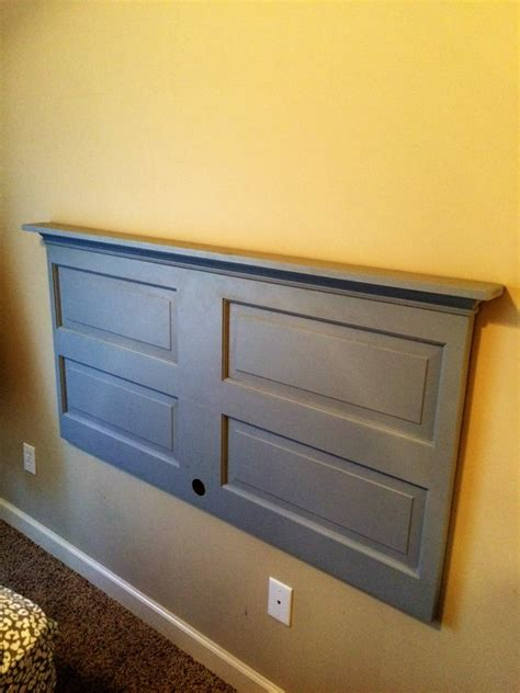 french cleat headboard diy headboard and shelf from reclaimed door jbsworkshop