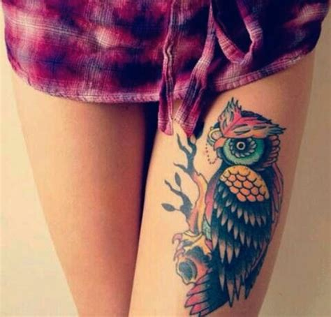 owl tattoo designs thigh colored anime girl tattoo on left thigh