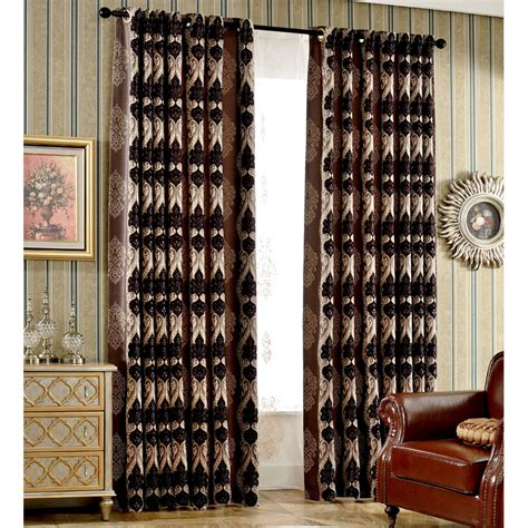 brown bedroom curtains brown damask jacquard chenille blackout thermal bedroom