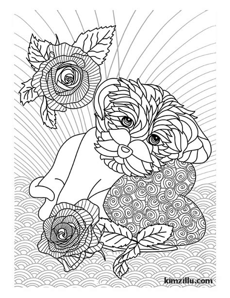 coloring pages for adults dogs adult coloring pages kimz