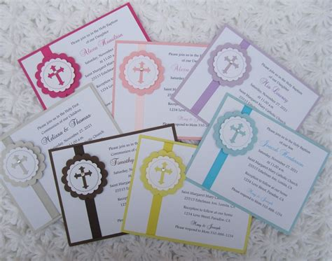 Handmade Communion Invitations - baptism 1st communion christening dedication handmade