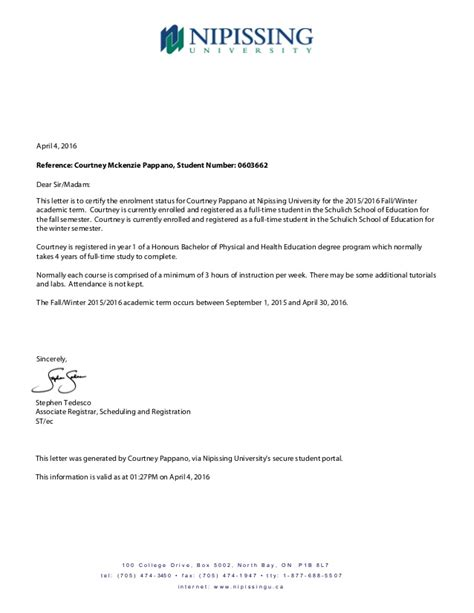 certification letter for enrollment proof of enrollment letter