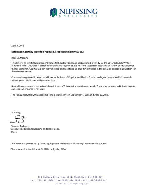 Proof of Enrollment Letter