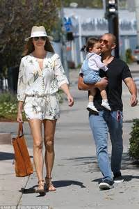 stacy keibler old stacy keibler wears floral playsuit during a family outing