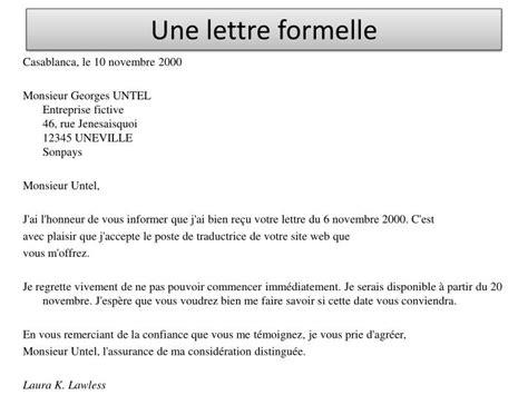 Un Exemple De Lettre Formelle En Français Ppt Une Lettre Formelle Powerpoint Presentation Id 3148090
