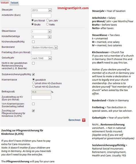 german wage calculator calculate your taxes in germany immigrant spirit gmbh
