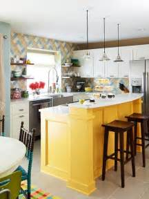island in the kitchen yellow kitchen islands