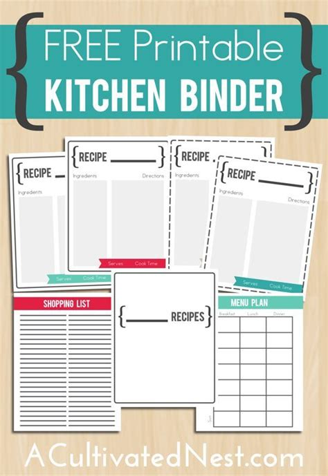printable kitchen planner free printable kitchens and kitchen organization on pinterest