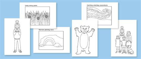 coloring pages for going on a bear hunt we re going on a bear hunt colouring sheets free early