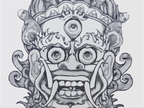 chinese demon mask tattoo design