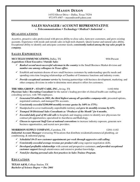 sales representative duties resume resume ideas