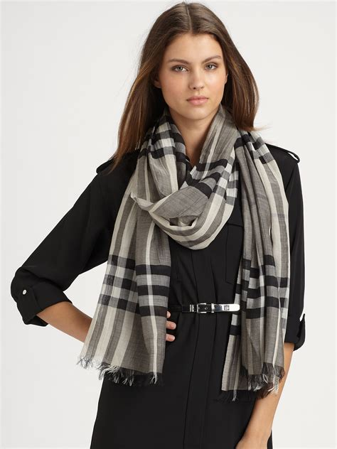 burberry check gauze scarf in gray lyst