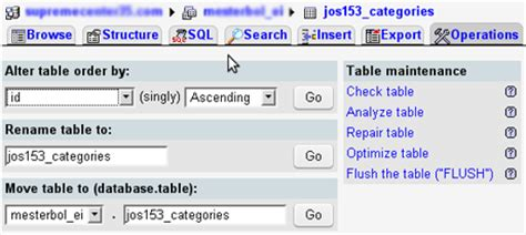 Phpmyadmin Rename Table by Phpmyadmin A Mysql Database Administration Tool