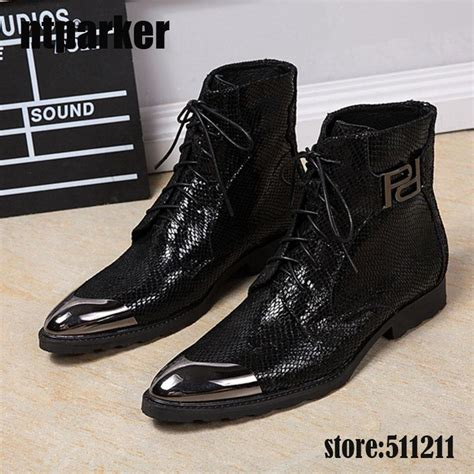 mens high heel motorcycle boots luxury black boots leather high