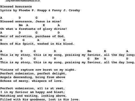 lyrics and blessed assurance christian gospel song lyrics and chords