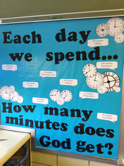 god clock themes church bulletin board for teen room how much of our time