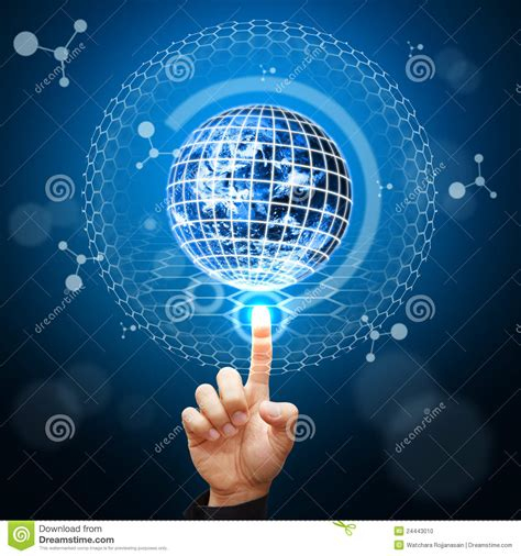 photo of digital smart point to digital world background stock photo