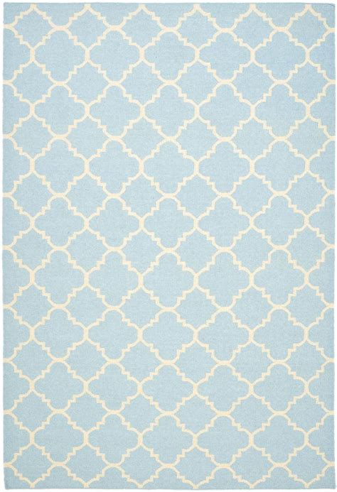 Light Blue Area Rugs Rugstudio Presents Safavieh Dhurries Dhu554b Light Blue Ivory Flat Woven Area Rug