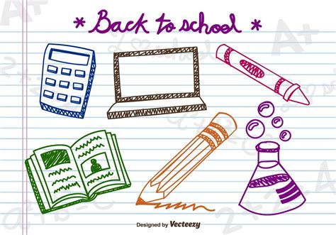 doodlebug academy doodle school elements free vector stock