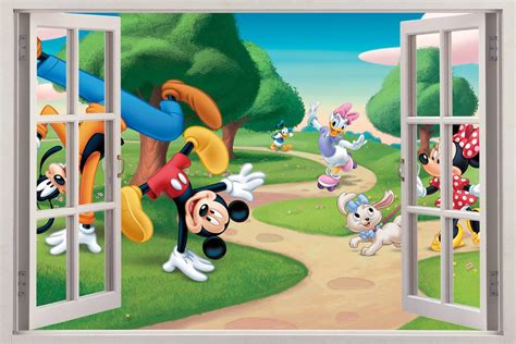 Mickey Mouse Wall Murals mickey mouse friends 3d window view decal wall sticker