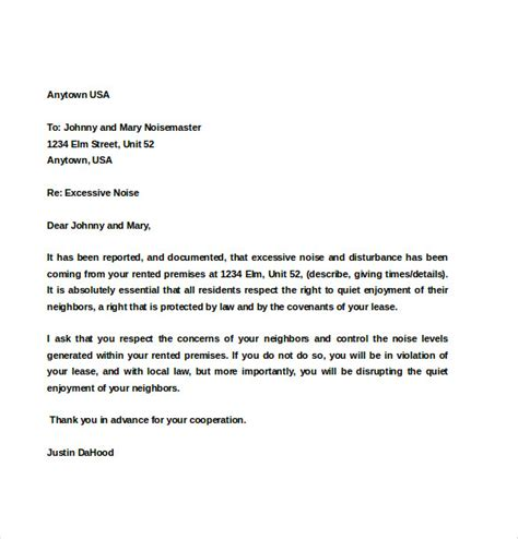 Lease Notice For Noise Noise Complaint Letter Template 8 Free Word Pdf Documents Free Premium Templates