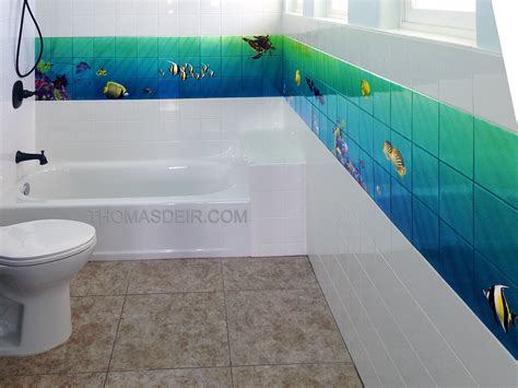 bathroom wall murals bath and shower tile murals tropical fish thomas deir