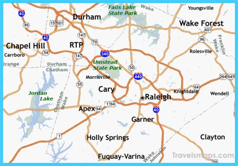 raleigh durham carolina map map of raleigh carolina travelsmaps