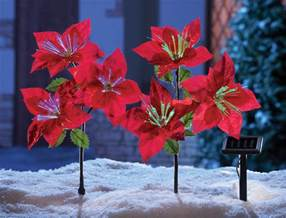 set of 2 solar power lighted poinsettia lawn yard stakes