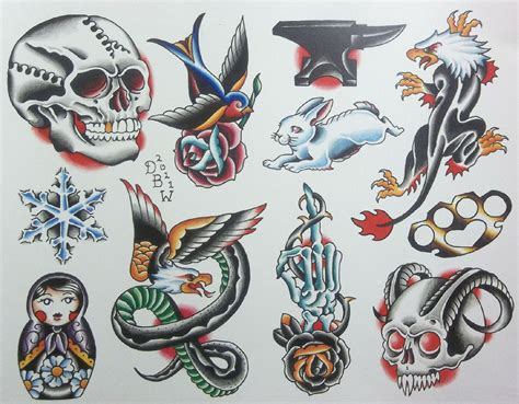 miscellaneous iv neo traditional tattoo flash sheet